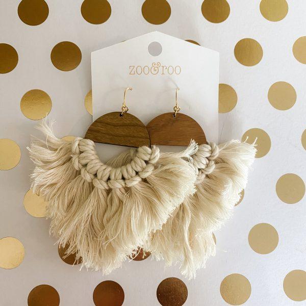 Marrakesh wood tassel earrings natural