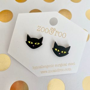 black cat Halloween earrings