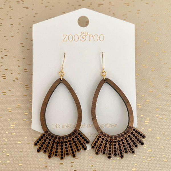 dissent collar handmade engraved wood earrings