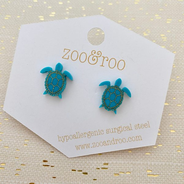 sea turtle stud earrings turquoise