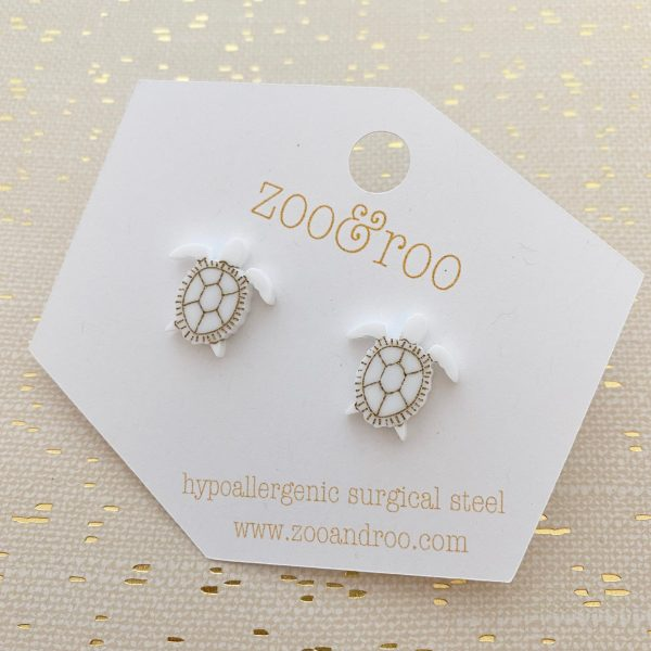 sea turtle stud earrings white
