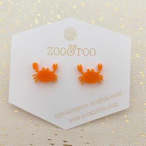 crab stud earrings orange