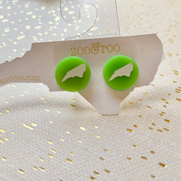 green pearl acrylic NC earrings with white