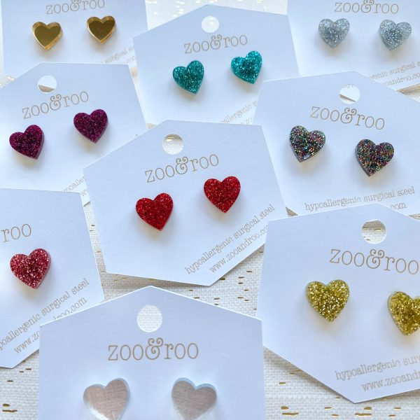glitter hearts stud earrings