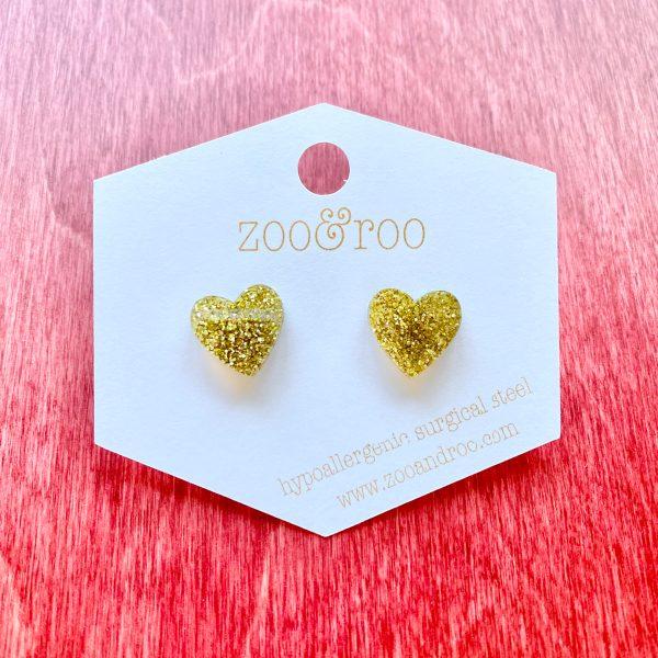 heart gold glitter studs