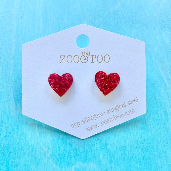 heart ruby slippers studs