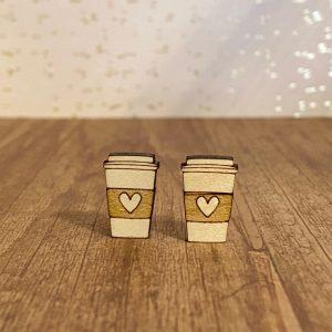 coffee cup of love engraved wood stud earrings