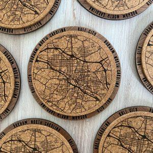 Durham coasters cork map on wood