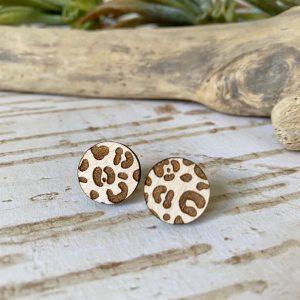 running wild leopard print stud earrings