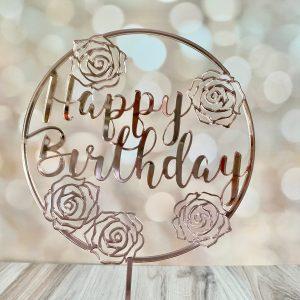happy birthday rose cake topper