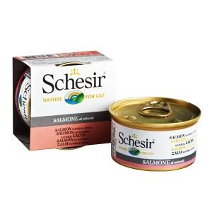 Schesir Salmon Natural Style Натуральные консервы для кошек, лосось в собственном соку, 85 г