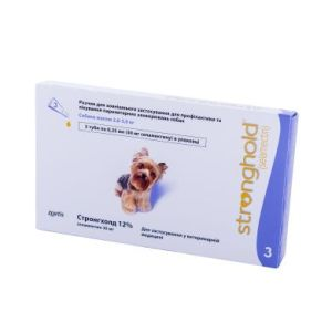 Стронгхолд (Stronghold) 12%/30 мг для собак весом 2,6 — 5 кг, 3 пипетки х 0,25 мл