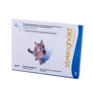 Стронгхолд (Stronghold) 6%/45 мг для кошек весом 2,6-7,5 кг, 3 пипетки х 0,75 мл