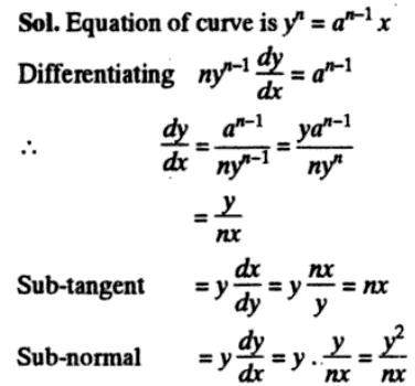 Subtangent Subnormal Application of Derivatives Length of