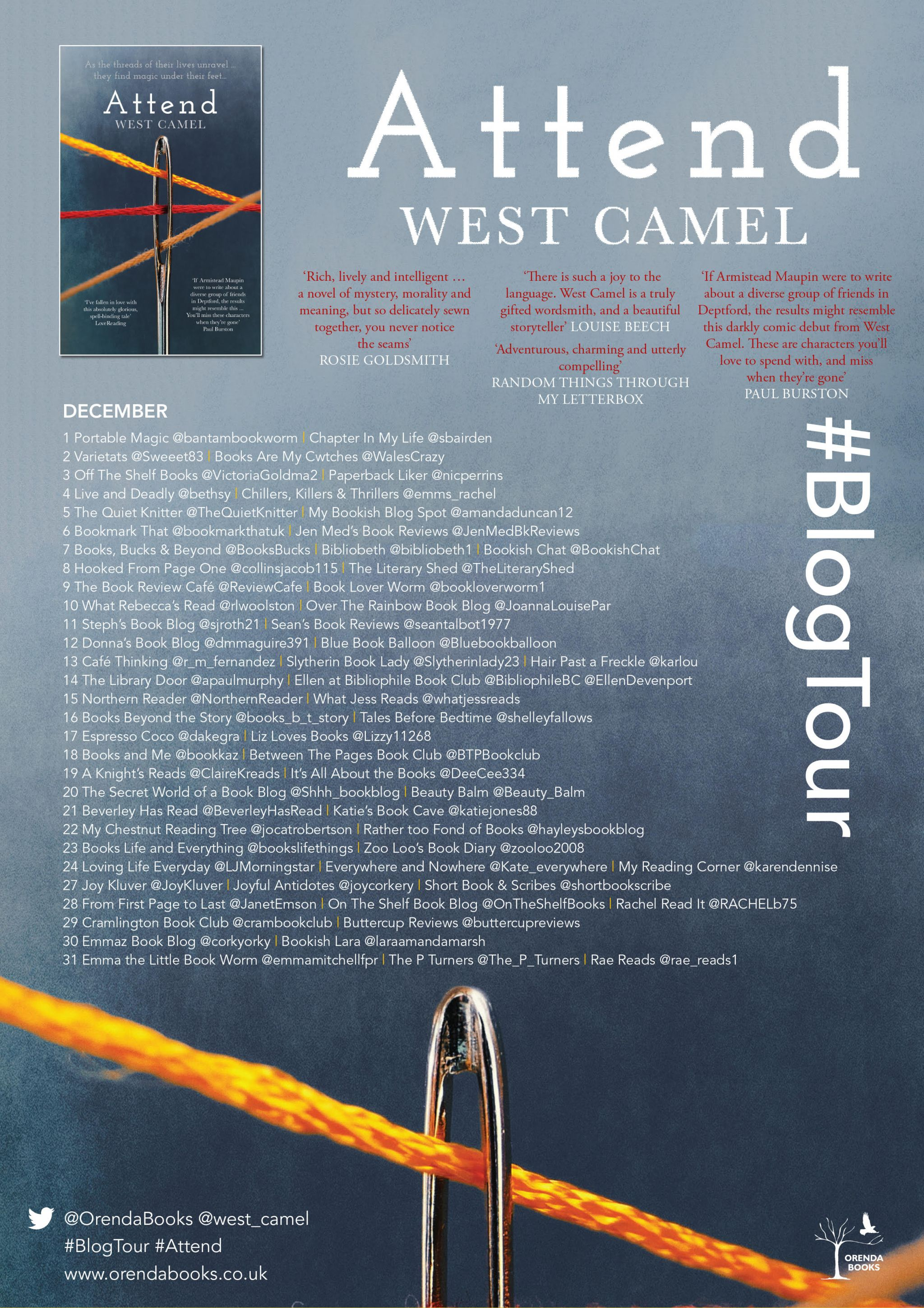 BookReview of Attend by West Camel @west_camel @annecater @orendabooks #teamorenda #blogtour #attend