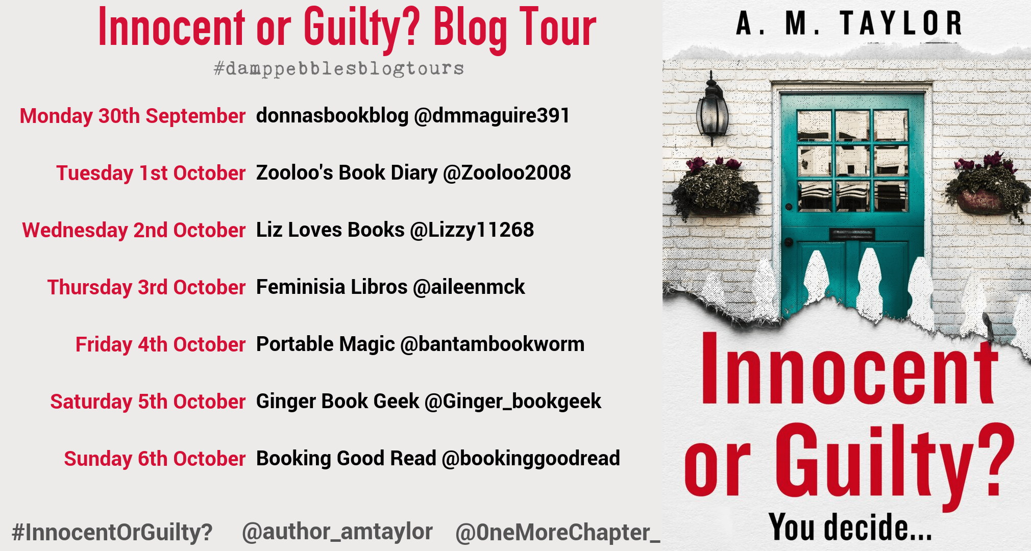 #BookReview of Innocent or Guilty? by A.M. Taylor #InnocentOrGuilty? @author_amtaylor @0neMoreChapter_ @KillerReads @damppebbles #dampebblesblogtours
