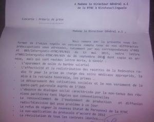 Copie de la lettre de préavis de l'Intersyndical de la RTNC.