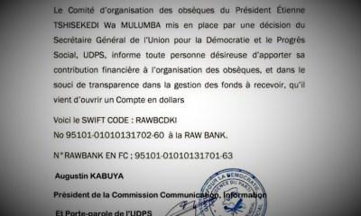 RDC : Obsèques de Tshisekedi, l'UDPS ouvre un compte à la Rawbank pour les contributions 17