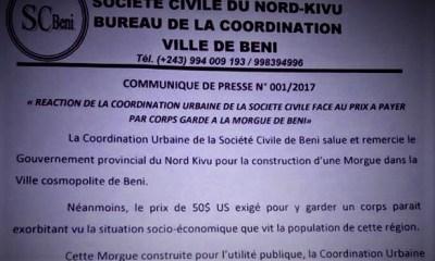 RDC : BENI, 50$ pour garder une dépouille à la Morgue jugés «exorbitants»