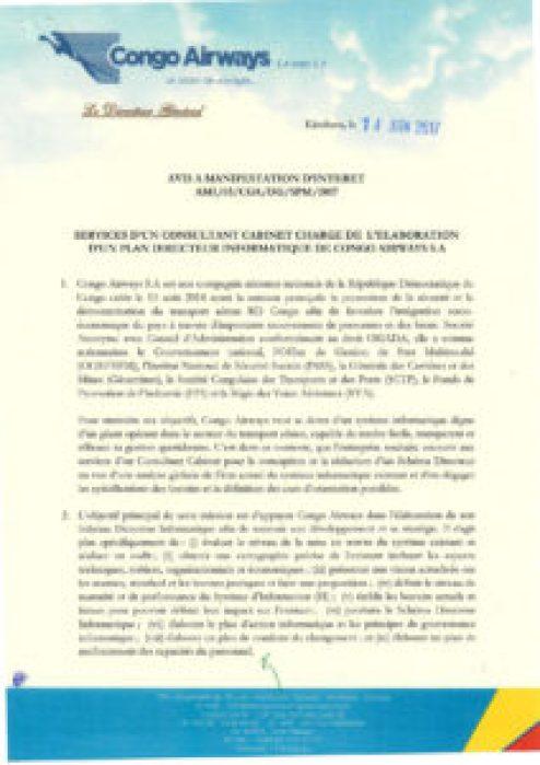 RDC : Congo Airways recherche un Consultant Cabinet chargé de l'élaboration d'un Plan Directeur Informatique 2