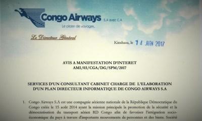 RDC : Congo Airways recherche un Consultant Cabinet chargé de l'élaboration d'un Plan Directeur Informatique 5