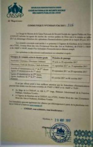 RDC : La CNSSAP invite les agents publics retraités en Juillet 2017 à se faire immatriculer 1