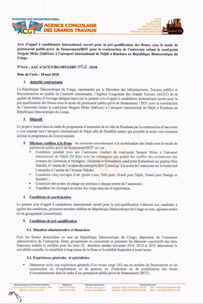 ACGT : avis d'appel à candidature international n°ACGT/DG/SPCGMP/001/2018 2