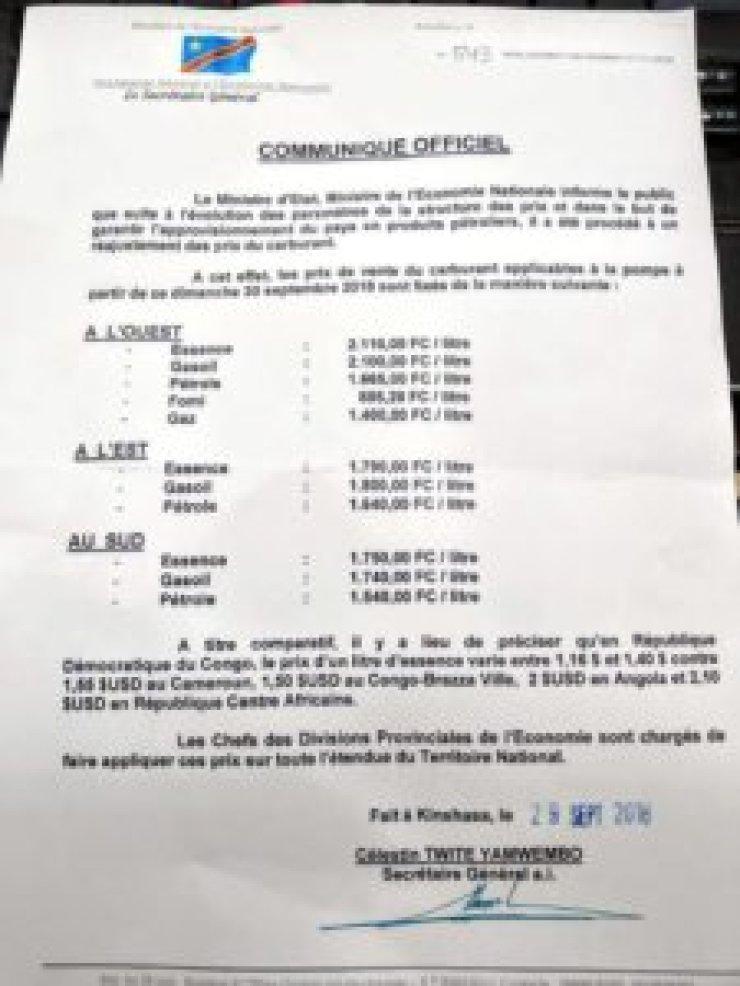 RDC : le ministère de l'Economie rend publique la nouvelle tarification du carburant ! 2