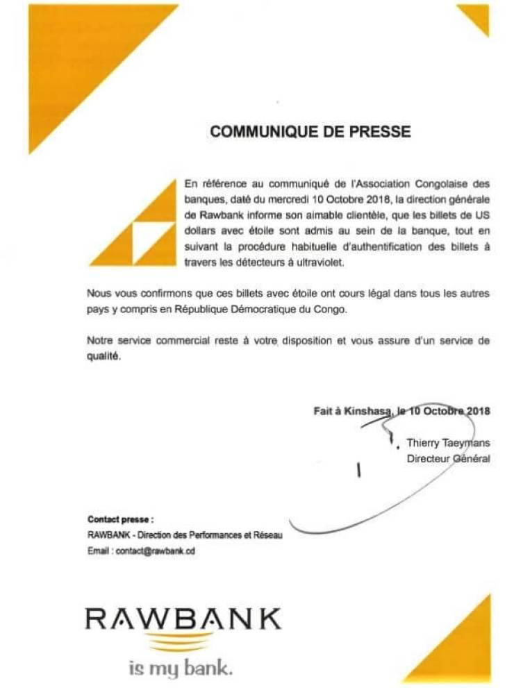 RDC : Rawbank se conforme aux instructions de l'ACB (Communiqué) 2