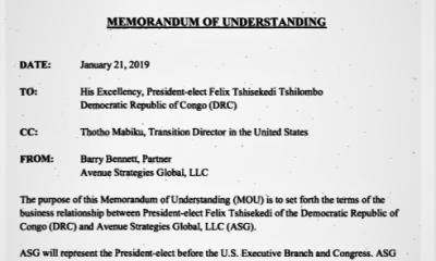 RDC/USA: Tshisekedi engage un cabinet de lobbying à 90000 USD pour quatre services 24
