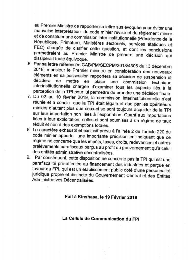 RDC : TPI, une parafiscalité légale due par les opérateurs miniers (officiel) 3