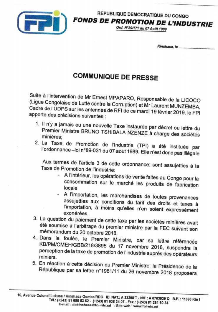 RDC : TPI, une parafiscalité légale due par les opérateurs miniers (officiel) 2