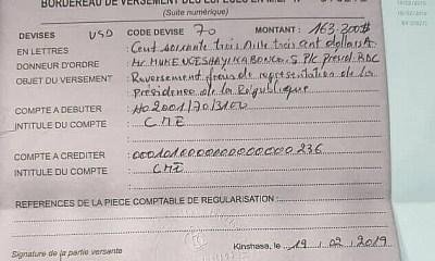 RDC : Tshisekedi reverse 163 300 USD au Trésor public [documents] 21