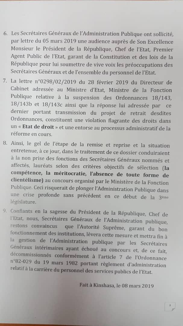 RDC : appel au respect des droits acquis des secrétaires généraux nommés ! 4
