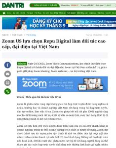 Zoom US lựa chọn Repu Digital làm đối tác cao cấp tại Việt Nam lên báo Dân Trí