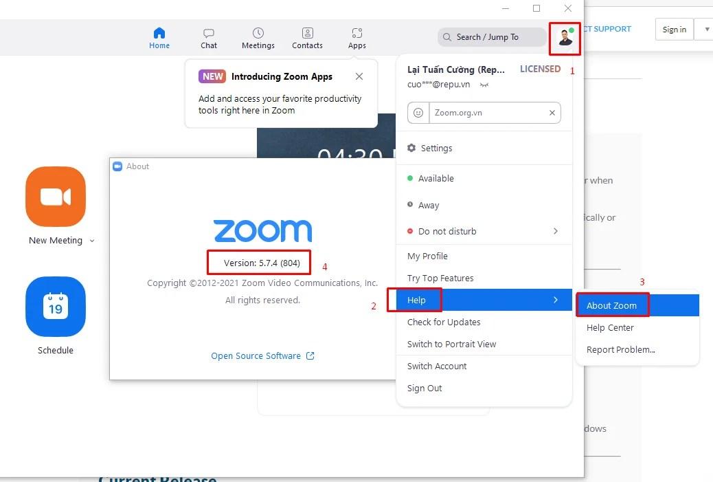 Hướng dẫn kiểm tra Zoom Client đã cài đặt phiên bản mới nhất chưa