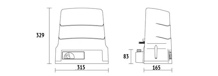 BH30/803 Dimenzije motora rager za klizne kapije