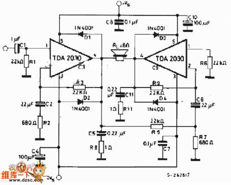 ic tda 2030 btl subwoofer amplifier with pcb layout with