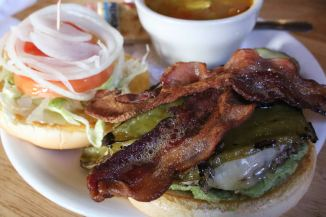 Southwest burger with green chiles & bacon