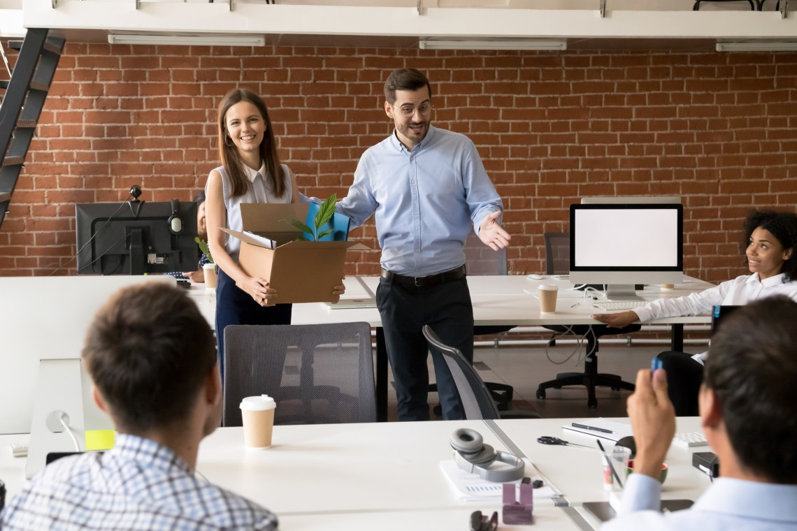 Millennial female has first workday in company