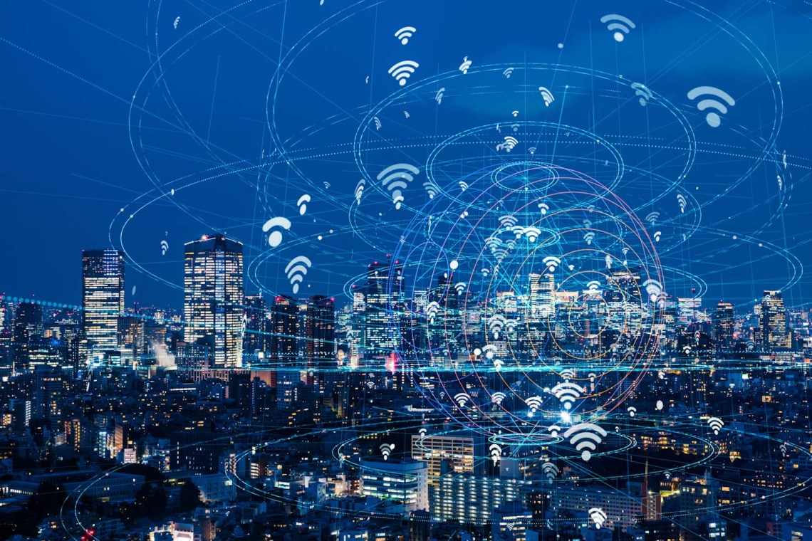 Wireless communication network concept. IoT(Internet of Things).