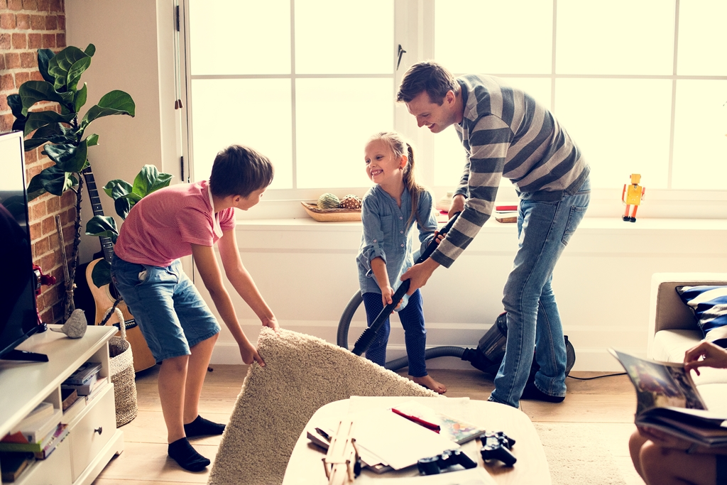 Kids helping house chores