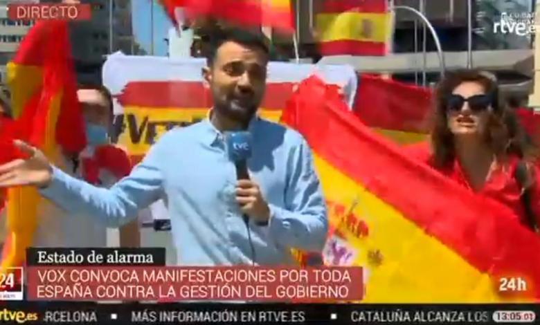manifestantes-en-madrid-silencian-a-un-reportero-de-tve-con-el-sonido-de-sus-motores