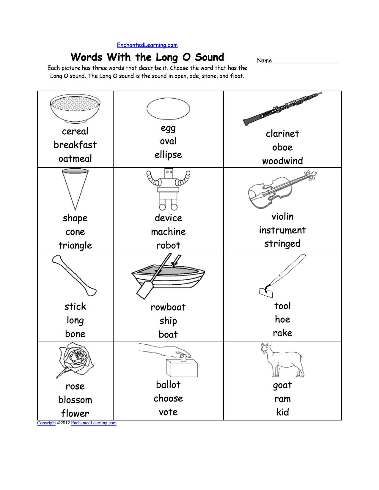 Short O Alphabet Activities At Enchantedlearning