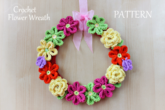 Crochet Flower Wreath