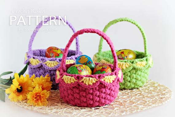 Easter crochet pdf patterns zoom yummy crochet food photography small crochet baskets pattern no 041 negle Images