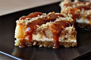 caramel apple cheesecake cookie bars recipe with step by step pictures and list of ingredients, apple recipe, images, pictures, ingredients