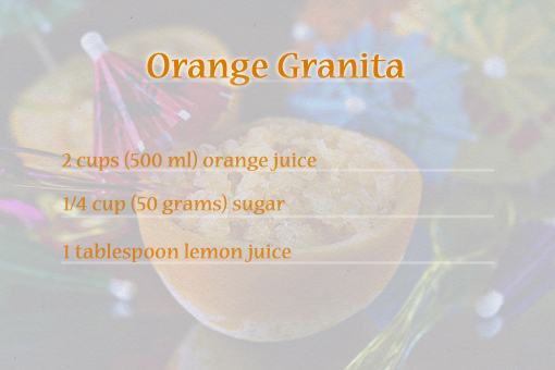 orange granita recipe with step-by-step images, orange slushie recipe, how to serve orange granita