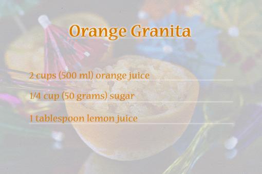 orange granita recipe with step-by-step images, orange slushie recipe, how to serve orange granita