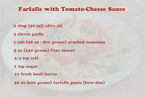 Farfalle with Tomato and Cheese Sauce